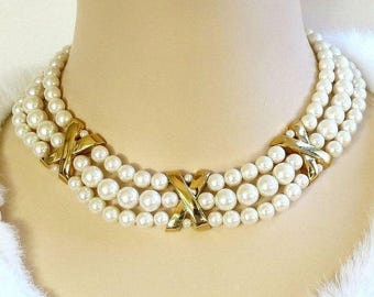 White Glass Pearl Necklace Vintage 3 Strand Choker Bridal Wedding
