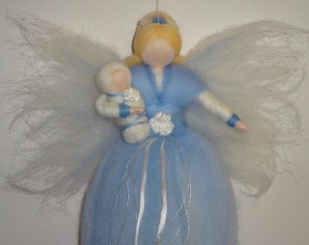 Winter Fairy, Blue and White Flower Faerie Doll with Baby, Christmas Angel, Nursery, Blessing, Waldorf, Magic Wool, needle felted