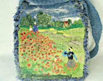 Felted Purse,felted handbag, Monet art,art purse, felted tote, Monet's poppy fields