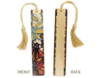 Monarch Butterfly original woodcut art by Jenny Pope Titled Monarchs 1 on Solid Maple Wood Bookmark with Gold Tassel