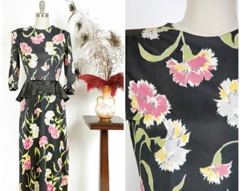 Vintage 1940s Dress - Wonderful Rayon Jersey 40s Day Dress in Bright Carnation Print with Satin Charmeuse Peplum