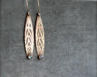 ON SALE Labradorite Boho Earrings - Gemstone Earrings, Etched Gold Brass, Oxidized Patina, Boho Jewelry