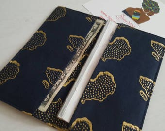 African map checkbook cover, Checkbook holder, Checkbook wallet, Check book cover, Fabric checkbook cover, Gifts for her, Gifts for him