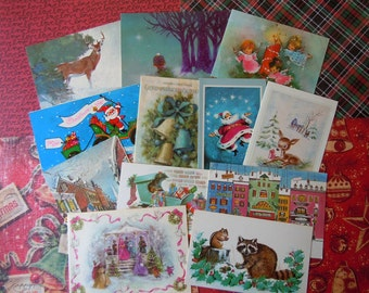 Vintage Christmas Card Lot in Blues   Santa Claus Reindeer Snow Scenes Angels Animals