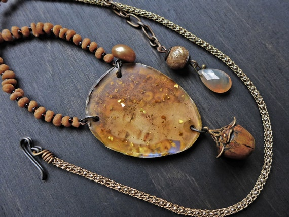 Golden Dawn. Handmade art necklace with rustic resin. Mixed media artisan jewelry by fancifuldevices.