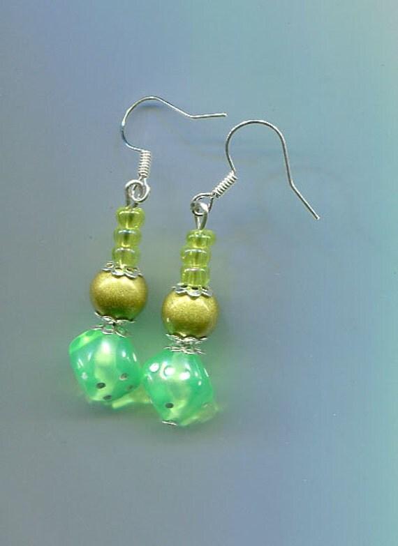 green dice bead drop earrings pearl bead earrings dangle drop earrings handmade green earrings handmade jewelry