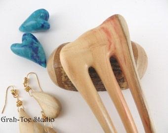 Box Elder Wood Hair Fork, Mini Threnody 3 Prong Hairfork SET, Grahtoe Studio, Man Bun,  Hair Toys, Wood forks,Hairsticks, Gift for Her