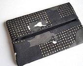 Black Cat Pocket Tissue Holder, Japanese Fabric Travel Tissue Cover