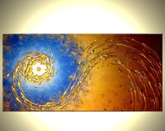 ORIGINAL Blue Gold Night Star Textured Painting, Contemporary Abstract Art Metallic PAINTING by Lafferty - 24x48 - 22% Off Sale
