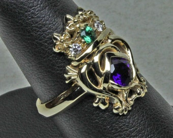 Custom luckenbooth ring in 14K natural amethyst, diamonds and emerald size 6.25