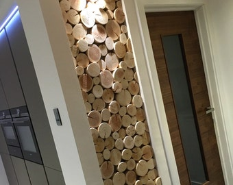 Create a Feature Log Wall or Wall Art - Sculptural Staggered Effect Log Tiles - one bundle