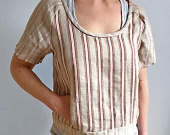 Linen Cotton Stripe Pocket Top - made in UK