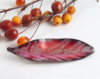 Big Ruby Pink Art Pin, Copper Enamel Artisan Brooch, One of a Kind Artisan Jewelry in Vitreous Enamel, Ready to Mail, Feather or Leaf Shape