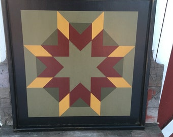 PRiMiTiVe Hand-Painted Barn Quilt - 3' x 3' Harvest Star Pattern (River Bank Version)