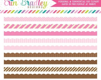 70% OFF SALE Pink & Brown Scalloped Clipart Borders, Instant Download Clip Art Graphics, Digital Scrapbooking Clip Art Elements