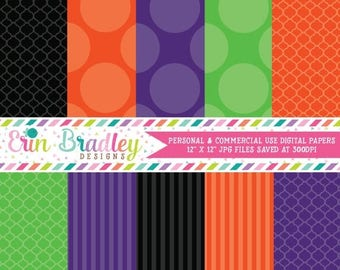50% OFF SALE Halloween Digital Paper Pack Personal & Commercial Use Polka Dots and Stripes Instant Download