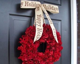 CHRISTMAS WREATH SALE Cranberry Red Christmas Wreath- Christmas Decor- Holiday Decoration- Winter Wreath