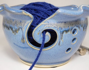 Yarn Pottery Bowl - Yarn Ceramic Bowl - Hand Made Yarn Bowl - Yarn Bowl Pottery - Crocheting Bowl - Crochet Yarn Bowl - In Stock