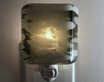 Glass Night Light - Olive Green and White Fused Glass Kitchen or Bathroom Lighting, Housewarming Gift, Handmade,