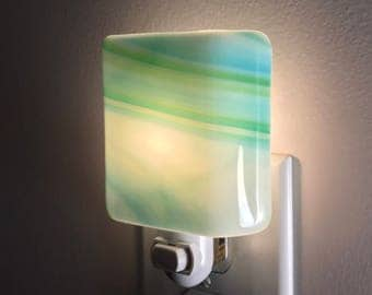 Glass Night Light - Blue Green and White Streaky Fused Glass Kitchen or Bathroom Lighting, Housewarming Gift, Handmade, Ooak, Gift Idea
