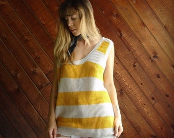 extra 30% off sale . . . Yellow Striped Knit Sweater Tank Top Pullover - Vintage 80s - OS MEDIUM M