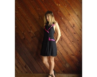 extra 30% off sale . . . T Back Hot Pink and Black Tuxedo Mini Dress Vintage 80s 90s - SMALL S