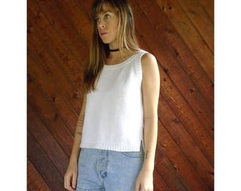 25% off Flash Sale . . . White Cotton Sweater Knit Tank Top - Vintage 90s -  S