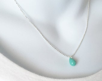 Minimal Turquoise Silver Necklace, Silver Chain, Teardrop Pendant, Layering Necklace, Ball Chain