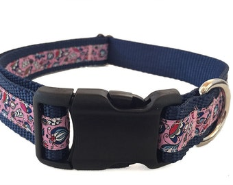 Pink Flowers and Dragonflies - Large Dog Collar