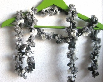 holiday sale Hand crochet skinny scarf, variegated black/grey/white, fabulous,  for her,  accessory, new soft, ready to ship