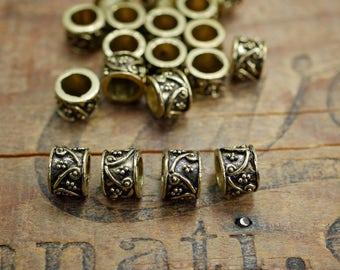 Antiqued Gold Beads Big Hole Bead Filigree Large Hole Beads (4) IG322