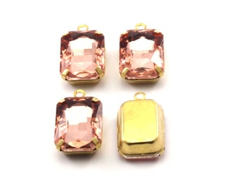 Light Peach Glass Setting, 4 Octagon Light Peach Glass Stones with 1 Loop Brass Prong Setting, Claw Settings (18x13mm) S604