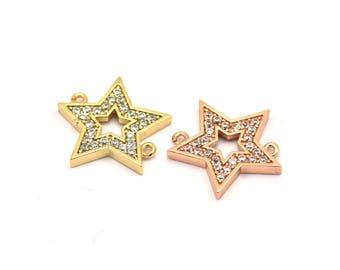 CZ Pave Star Pendant, Cubic Zirconia Star Pave Charm (15mm) cz3