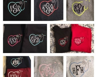 Monogrammed Nurse Sweatshirt.  Quarter zip cadet collar NURSE sweatshirt.  S, M, L, XL, 2X, 3X.  Product ID-G18800