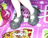 Blythe Silver with silver glitter Platform Mary Jane shoes