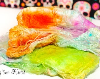 FLYING BALLOONS - Mawata silk hankies, hand painted silk fiber, spinning silk fiber - 0.5 oz
