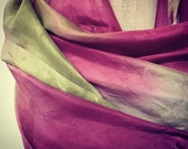 Hand Dyed Sheer Silk Paj in Vintage Pinks, Tea and Olive for Nuno Felting or Scarves . 115cm by 200cm