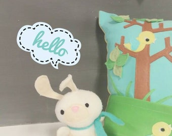 Playful Pillow with Bunny - Children, Nursery, Decor, Toy, Bunny, Gift