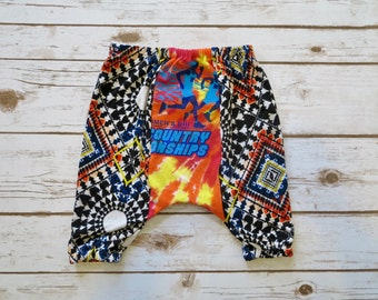 12 Months Bohemian Baby Boy/Girl Unisex Boho Tie Dye Hippie Harem Pants Bloomers Upcycled Recycled Boutique OOAK Baby Clothing Clothing