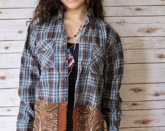 Boho Earthy Plaid Bandana Hem Button Up Blouse Lagenlook Hippie Boho Upcycled Recycled Shirt OOAK Bohemian Top Blouse Womens Large
