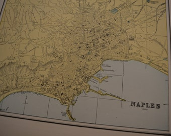 1897 City Map Naples Italy - Vintage Antique Map Great for Framing 100 Years Old
