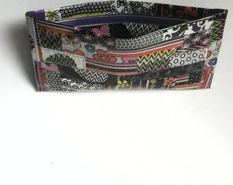 duct tape wallet with zip lock closure , black multi design motif