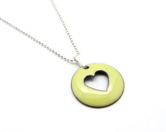 Yellow Heart Necklace - Pale Yellow Heart Pendant Necklace - Yellow Enamel Charm Necklace with Sterling Silver Chain