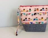 Small Project Bag for Knitting/Crochet - kittens in socks/slippers