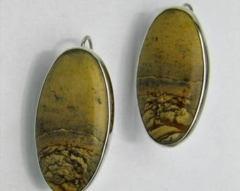 Oval Picture Jasper earrings with attached ear wires