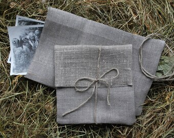 """CD/DVD packaging.Set of 5.Photo/Picture/Card  natural linen packaging. 5""""x5 1/2"""". Linen envelopes/bags. Favor bags.Ecco wedding Baby shower."""