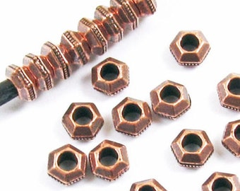 TierraCast 2mm Hole Spacer Beads For Leather-COPPER FACETED HEXAGON 5mm (25)