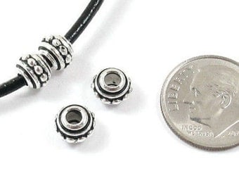 TierraCast Pewter 2.5mm Large Hole Beads-SILVER BEADED SPACER 7mm (4)