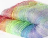 Silver Rainbow 2.8 oz  Wool - Merino Mixed Art Batt // Wool Art Batt for spinning or needle felting