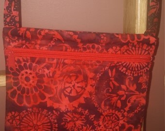 Red and Black Batik with Contrasting Flower Fabric Cross-body/Hands-Free Purse/Hand Bag / Item # 290